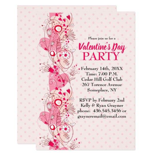 Hearts And Polka Dots Valentine Party Invitation
