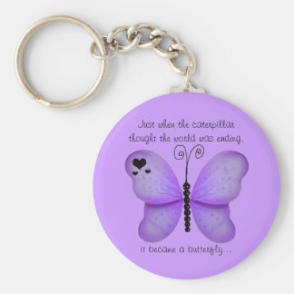Hearts and Purple Butterfly Quote Key Chain
