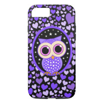 hearts and purple owl iPhone 7 case