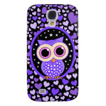hearts and purple owl samsung s4 case