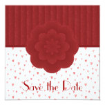 Hearts and Red Damask Save The Date Invitation