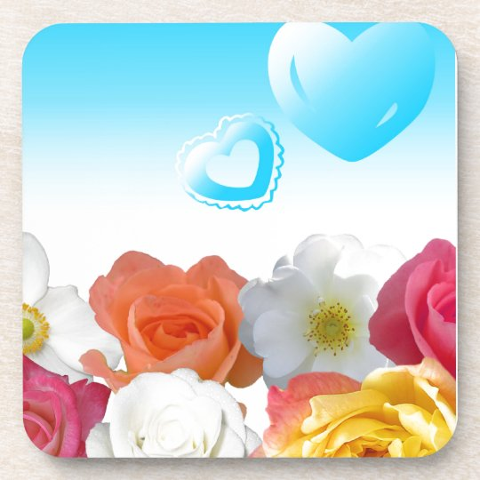 Hearts and Roses Drink Coaster