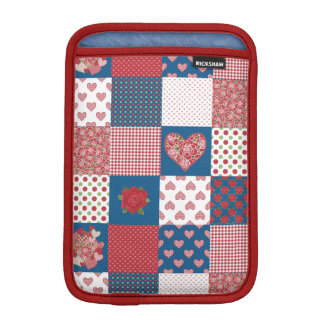 Hearts and Roses Faux Patchwork iPad Mini Sleeve