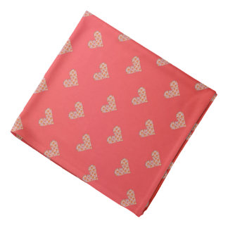 Hearts and Roses Pattern over Pink Bandana