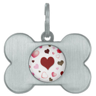 Hearts and Roses Pet Name Tag