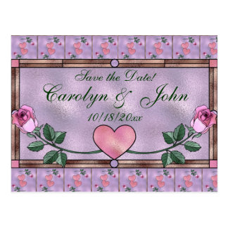 Hearts and Roses Save the Date Postcard