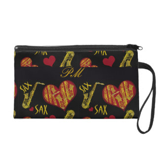 Hearts and Saxophones Wristlet