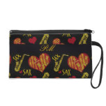 Hearts and Saxophones Wristlet Purse