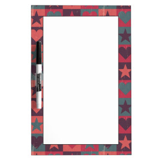Hearts And Stars Pattern Pink Dry Erase Board