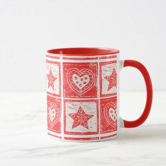 Hearts and Stars Scandinavian Folk Mug