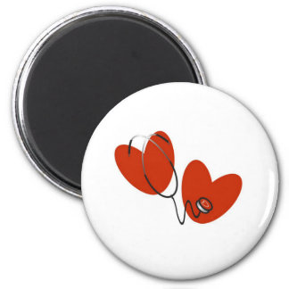 Hearts and Stethoscope 2 Inch Round Magnet