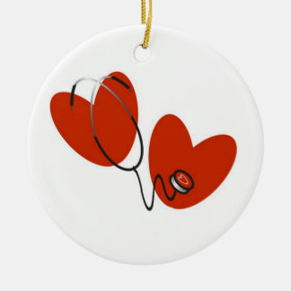 Hearts and Stethoscope T-shirts and Gifts Double-Sided Ceramic Round Christmas Ornament