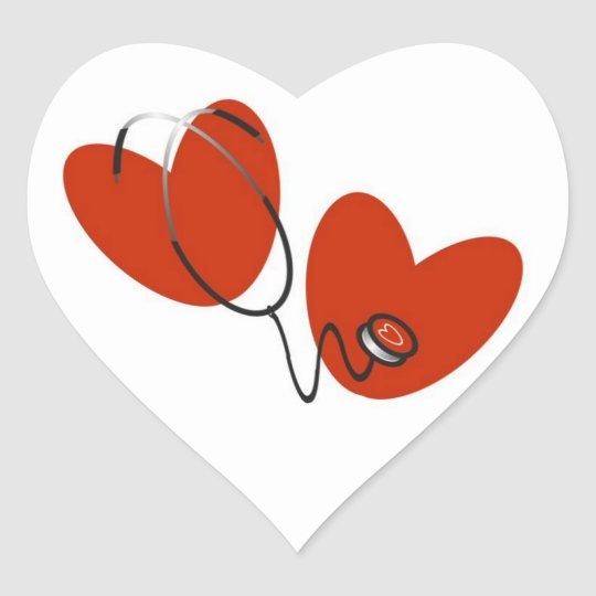 Hearts and Stethoscope T-shirts and Gifts Heart Sticker