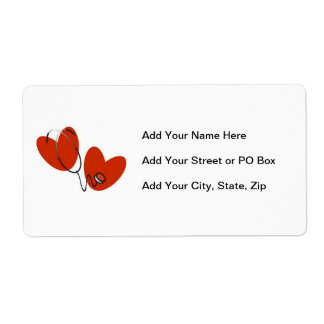 Hearts and Stethoscope T-shirts and Gifts Label