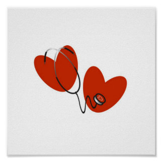 Hearts and Stethoscope T-shirts and Gifts Poster