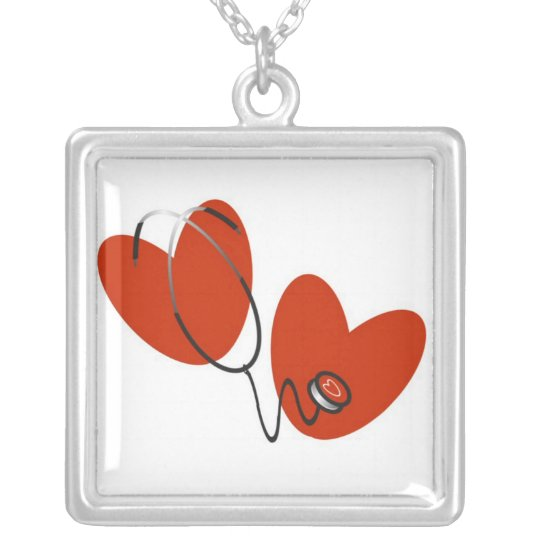 Hearts and Stethoscope T-shirts and Gifts Silver Plated Necklace