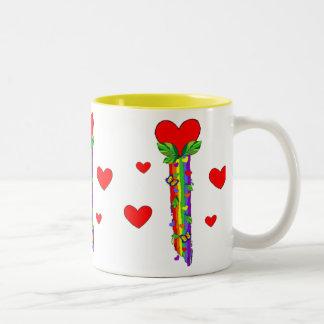 Hearts and Streamers Two-Tone Coffee Mug