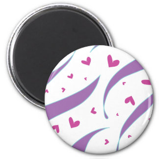 Hearts and Stripes Design 2 Inch Round Magnet