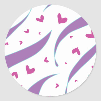 Hearts and Stripes Design Classic Round Sticker