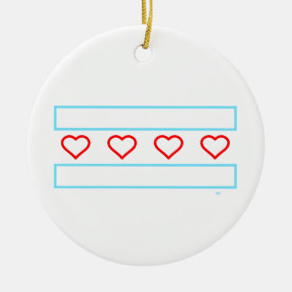 Hearts and Stripes Forever - open hearts flag Ceramic Ornament