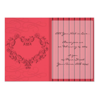 Hearts and Stripes in Honeysuckle Pink Invitation