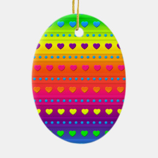 Hearts and Stripes OVAL ORNAMENT
