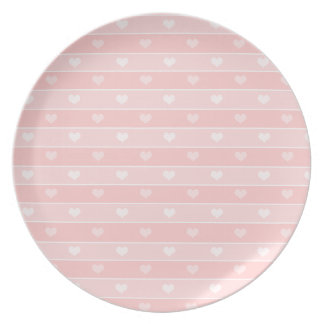 Hearts and Stripes Pink Dinner Plate