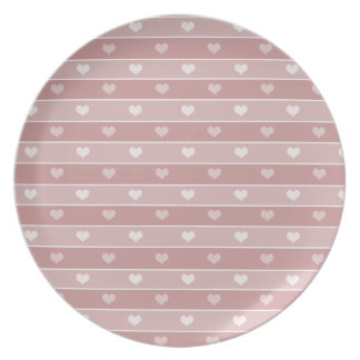 Hearts and Stripes Pink Plate