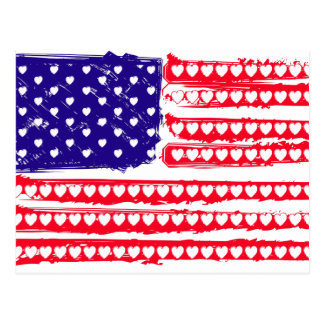 Hearts and stripes postcard