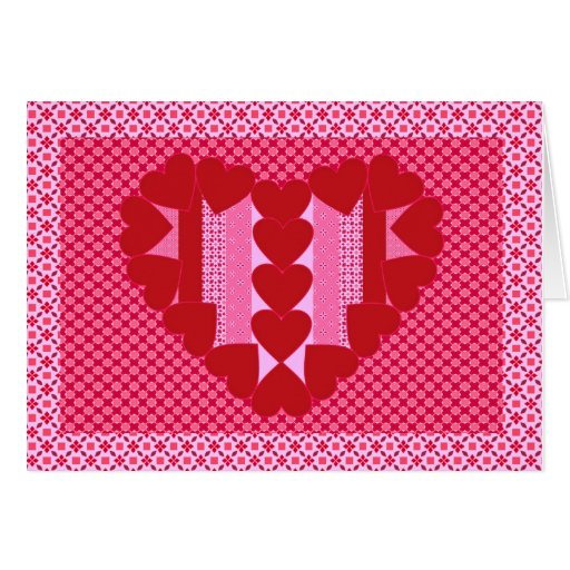Hearts and stripes - quilt greeting card