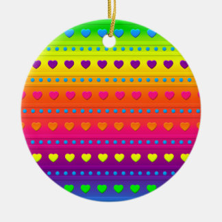 Hearts and Stripes ROUND ORNAMENT