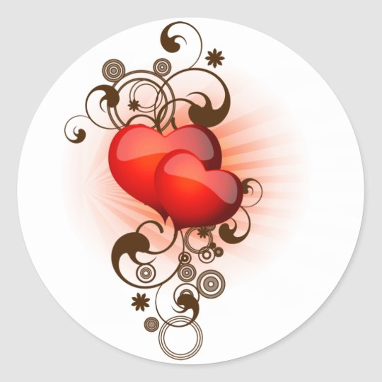 Hearts-and-Swirls Classic Round Sticker