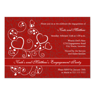 Hearts and Swirls Valentine's Day Engagement Party Personalized Invitation