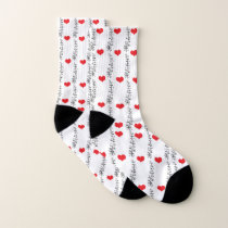 Hearts and Vines, Red Hearts Pattern Socks