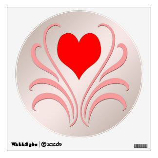 Hearts and Vines Round Wall Decal