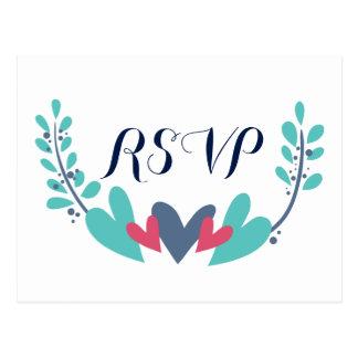 Hearts and Vines Wedding RSVP Postcard