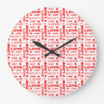 Hearts and Words of Love Wall Clock