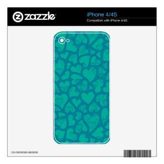 hearts aqua blue skins for the iPhone 4