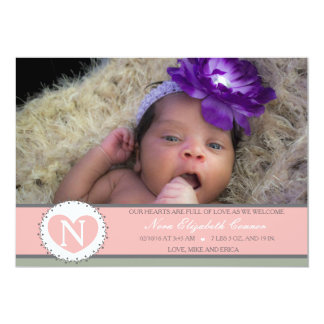 Hearts are Full Baby girl birth annoucment 5x7 Paper Invitation Card