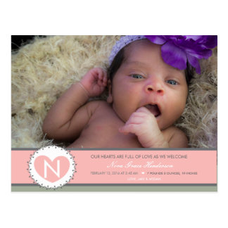 Hearts are Full Baby girl birth annoucment Postcard