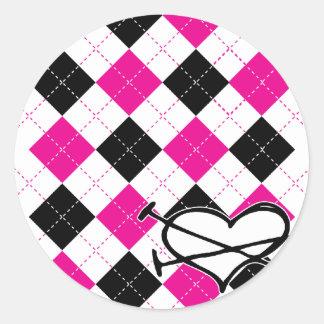 Hearts & Argyle Classic Round Sticker