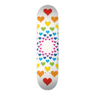 Hearts around hearts in different colors skateboard deck