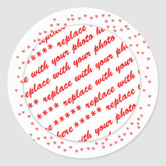 Hearts Around Your Photo Template Classic Round Sticker