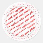 Hearts Around Your Photo Template Classic Round Sticker