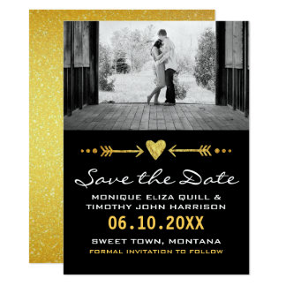 Hearts & Arrows Golden Wedding Save the Date Cards