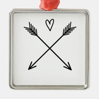 Hearts & Arrows Metal Ornament