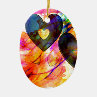 Hearts at Sunrise Ceramic Ornament