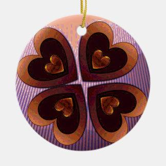 Hearts at Sunset Ceramic Ornament