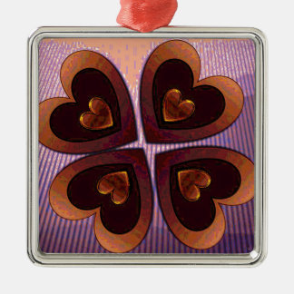 Hearts at Sunset Metal Ornament