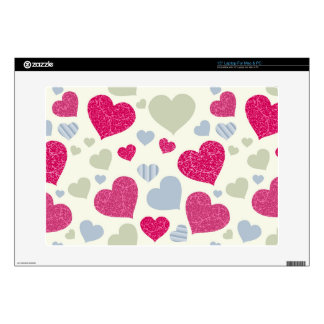 """Hearts Background 15"""" Laptop Decal"""